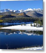 Reflections Of Pikes Peak In Crystal Reservoir Metal Print