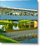 Reflections Of The Halls Mill Covered Bridge Metal Print