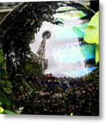 Reflections Of The Space Needle Metal Print