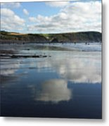 Reflections Of Widemouth Bay Metal Print