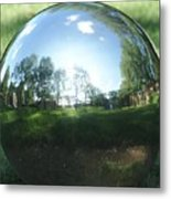 Reflections On A Steel Sphere Metal Print