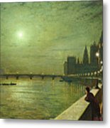 Reflections On The Thames Metal Print by John Atkinson Grimshaw