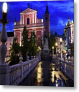 Reflections On Wet Triple Bridge After Rain At Dawn With Lights  Metal Print