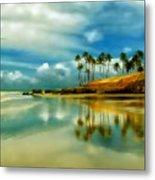 Reflective Beach Metal Print