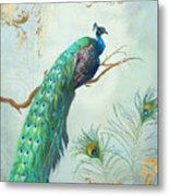 Regal Peacock 1 On Tree Branch W Feathers Gold Leaf Metal Print