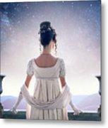 Regency Woman Looking At The Stars In The Night Sky  Metal Print