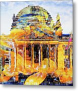 Reichstag And Flower Metal Print