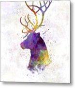 Reindeer 01 In Watercolor Metal Print