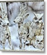 Reindeer And Owls Holiday Celebration 2 Metal Print