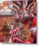 Reindeer At Copenhagen Christmas Market Metal Print