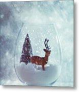 Reindeer In Glass Snow Globe  Metal Print