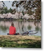Relaxing Under Cherry Blossoms Metal Print