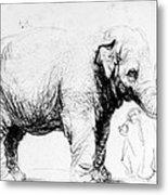 Rembrandt: Elephant, 1637 Metal Print