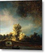 Rembrandt Landscape Paintings - The Stone Bridge Metal Print