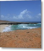 Remote Daimari Beach With Waves Rolling Ashore Metal Print