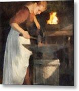 Renaissance Lady Blacksmith Metal Print