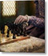 Renaissance Lady Playing Chess Metal Print