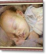 Renoircalia Catus 1 No. 2 - Adorable Baby L B With Decorative Ornate Printed Frame. Metal Print
