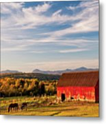 Red Barn Autumn Landscape Metal Print
