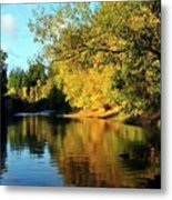 Yamhill River Reflections Metal Print