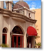 Restaurant In The Plaza Metal Print