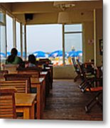 Restaurant On A Beach In Tel Aviv Israel Metal Print by Zalman Latzkovich
