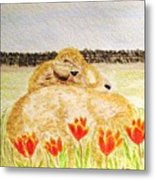 Resting In The Tulips Metal Print