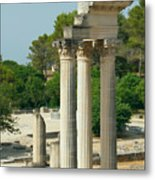 Restored Roman Columns In Glanum Metal Print