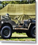 Restored Willys Jeep And Tent At Fort Miles Metal Print