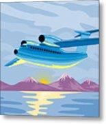 Retro Airliner Flying  Metal Print