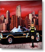 Retro Bat Woman Metal Print