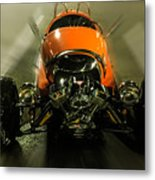 Retro Car In Orange Metal Print