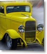 Retro Car In Yellow Metal Print