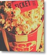 Retro Film Stub And Movie Popcorn Metal Print