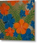 Retro Flowers Metal Print