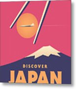 Retro Japan Mt Fuji Tourism - Magenta Metal Print