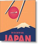 Retro Japan Mt Fuji Tourism - Orange Metal Print