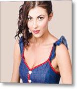 Retro Pin-up Girl In Blue Denim Dress Metal Print
