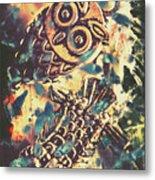 Retro Pop Art Owls Under Floating Feathers Metal Print