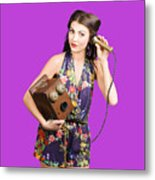 Retro Receptionist On Vintage Telephone. Call Us Metal Print