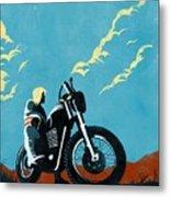 Retro Scrambler Motorbike Metal Print