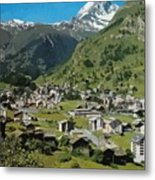 Retro Swiss Travel Zermatt And Mount Matterhorn  Metal Print