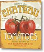 Retro Veggie Labels 4 Metal Print by Debbie DeWitt