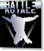 Retro Vintage 90s Chrome Skydiver Battle Royale Gamer T Shirt Metal Print