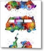 Retro Wheels Watercolor Metal Print