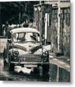 Retromobile. Morris Minor. Vintage Monochrome Metal Print