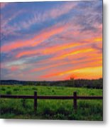 Retzer Nature Center - Summer Sunset Over Field And Fence Metal Print