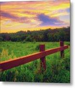 Retzer Nature Center - Sunset Over Field Metal Print