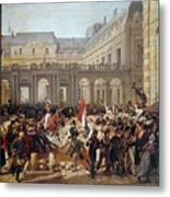 Revolution Of 1830 Departure Of King Louis-philippe For The Paris Townhall Horace Vernet Metal Print