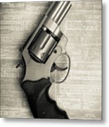 Revolver Pistol Gun Over Drawings Metal Print